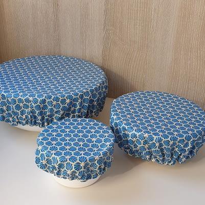 Charlottes à saladier / bol - Tissu enduit - 3 tailles bleues