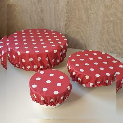 Charlottes à saladier / bol - Tissu enduit - 3 tailles rouges gros pois