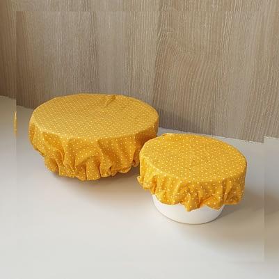 Charlottes à saladier / bol - Tissu enduit - 3 tailles jaune petit pois