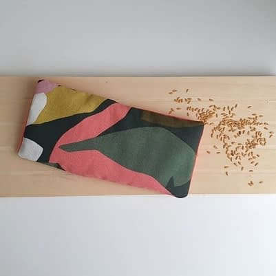Bouillotte sèche au lin bio avec housse motif fleurs