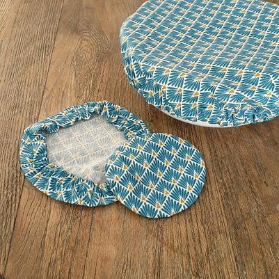 Charlottes à saladier / bol - Tissu enduit - 3 tailles bleu motif