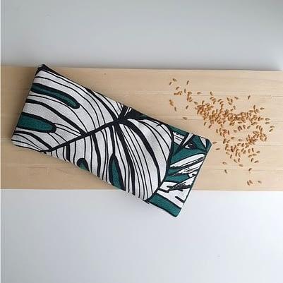 Bouillotte sèche au lin bio avec housse motif feuilles