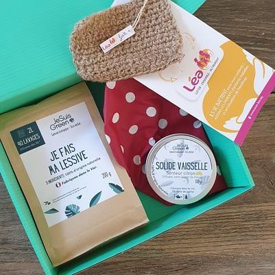 """Kit """"L'écolo"""" - Lessive / Eponge Tawashi / Solide Vaisselle/ Charlotte alimentaire"""