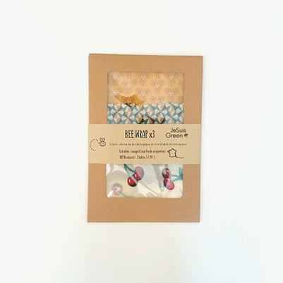 Bee Wrap - pack 3 tailles - 3 coloris cerises