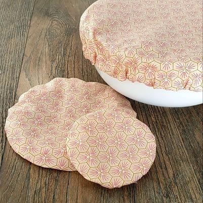 Charlottes à saladier / bol - Tissu enduit - 3 tailles roses