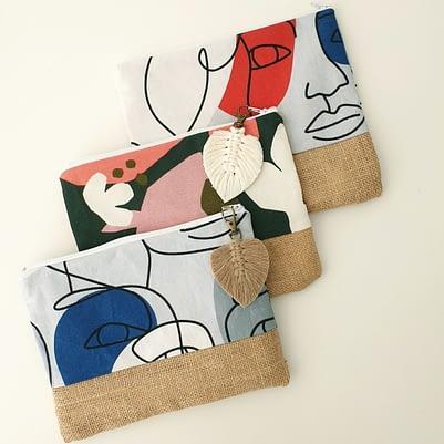 Pochette coton / jute / attache Macramé